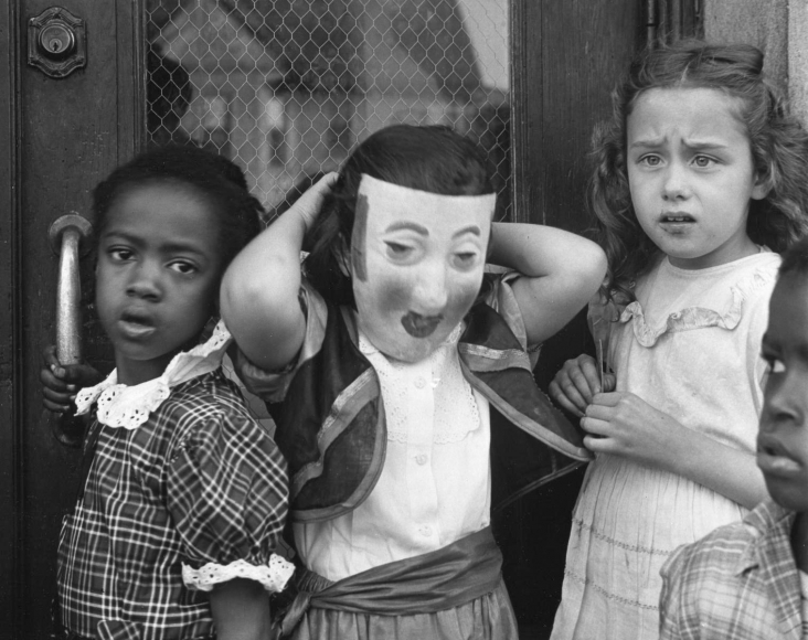 Marvin E. Newman - Untitled (Children with Mask), 1951  | Bruce Silverstein Gallery