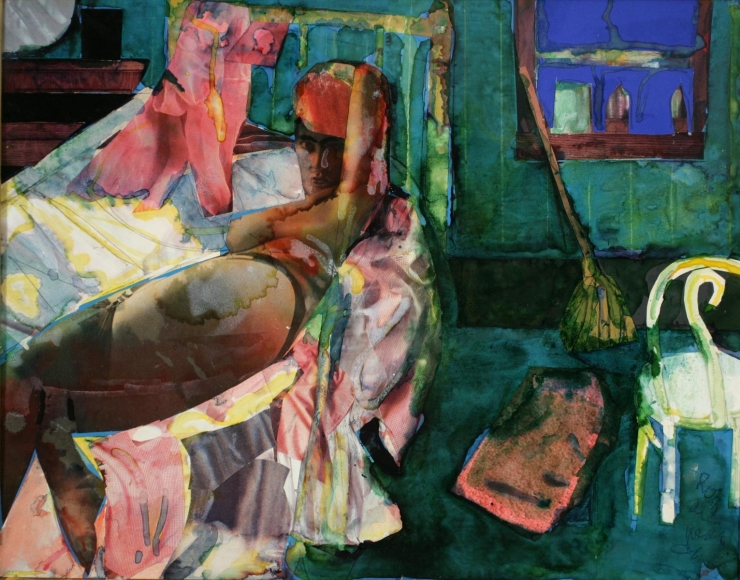 Romare Bearden (1911-1988)Cora's Morning, 1986 Collage and watercolor on paper 11 x 14 in. (27.9 x 35.6 cm)