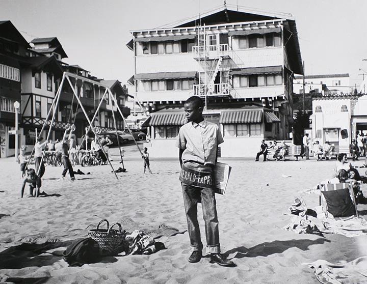Larry Silver - Newsboy, Muscle Beach, Santa Monica, CA, 1954 Gelatin silver print, printed later | Bruce Silverstein Gallery