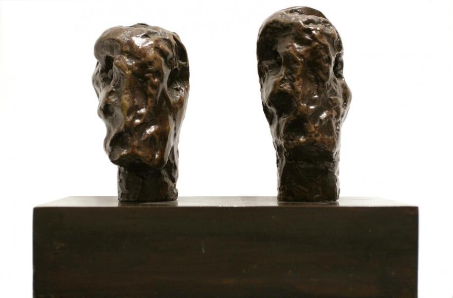 Henry Moore Emperor's Heads, 1961 Bronze sculpture with brown patina 7 1/2 x 8 1/2 x 4 1/5 in. (19.1 x 21.6 x 10.7 cm)
