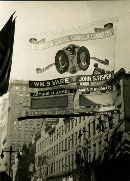 E. O. Hoppé - Election Signs, Philadelphia, Pennsylvania, 1926    Bruce Silverstein Gallery