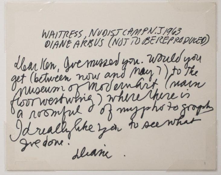 Diane Arbus- Waitress, Nudist Camp, N.J., 1963 Detail | Bruce Silverstein Gallery