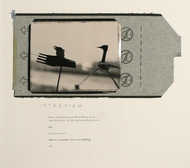 John Wood - Interview, 1999 Gelatin silver print with Polaroid wrapper collage and laser printed text | Bruce Silverstein Gallery