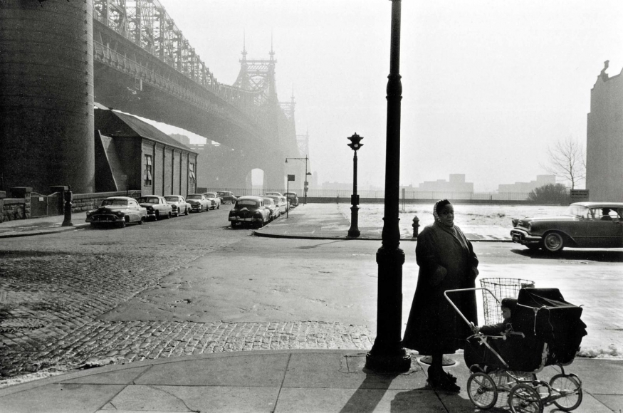 Queensborough Bridge, New York City, 1955, 	Gelatin silver print mounted to board