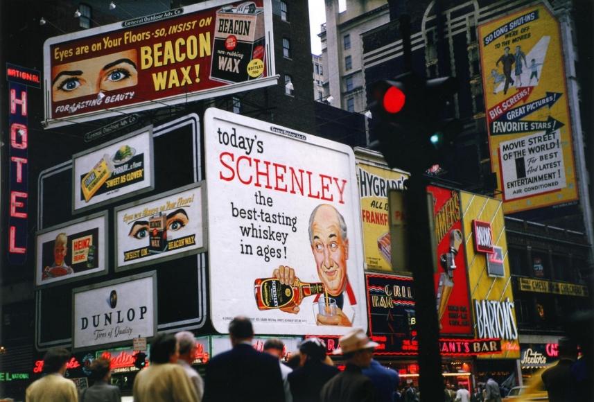 Ruth Orkin -  Times Square Billboardsc. 1950  | Bruce Silverstein Gallery