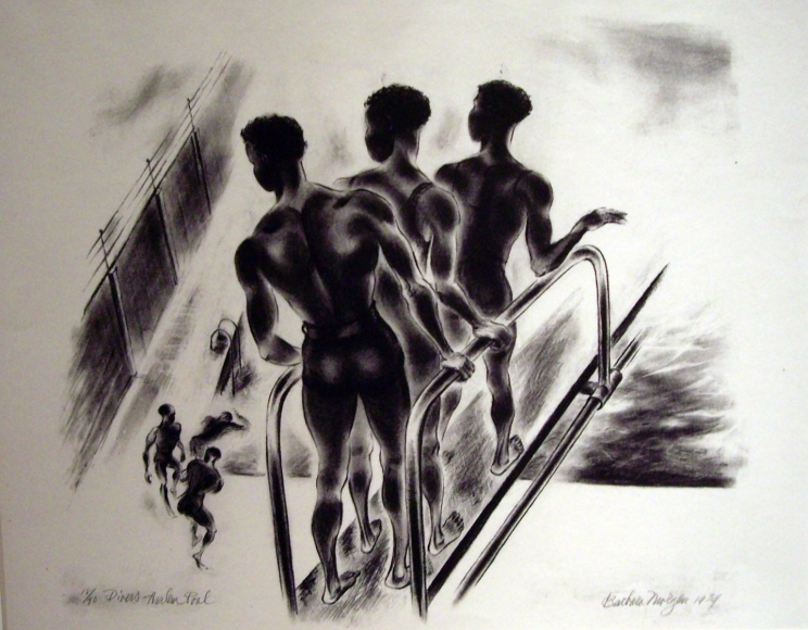 Barbara Morgan - Divers (Harlem Pool), 1934 Lithograph on paper | Bruce Silverstein Gallery