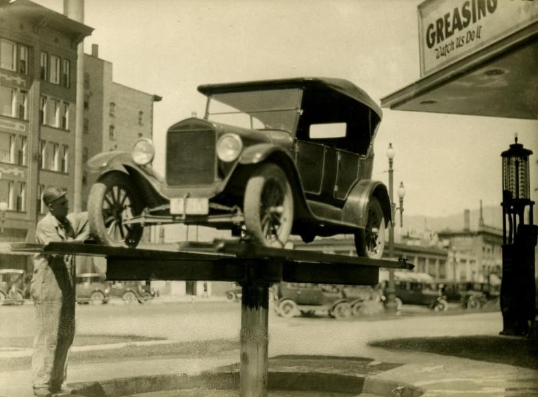 Auto Shop, Los Angeles, CA, 1926 Gelatin silver print, printed c. 1926 5 3/4 x 8 inches