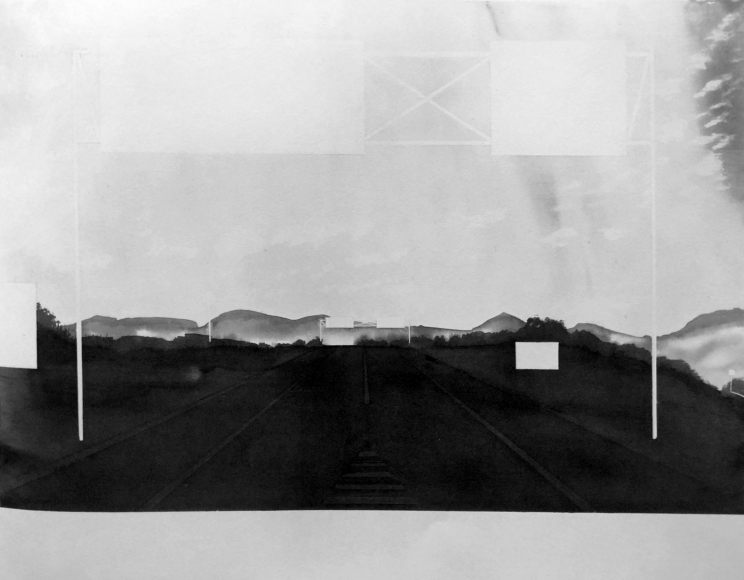 Approaching Springfield, Massachusetts (from 100 Views Along the Road), 1983, Large-format watercolor on paper