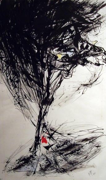 Barbara Morgan - Updraft, 1960 Ink and watercolor on paper | Bruce Silverstein Gallery