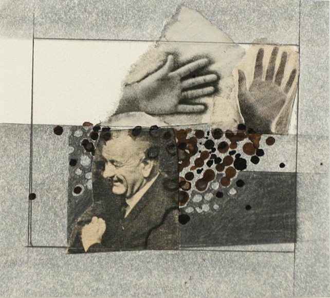 John Wood - L.B.J. and Hands, 1965 Collage | Bruce Silverstein Gallery