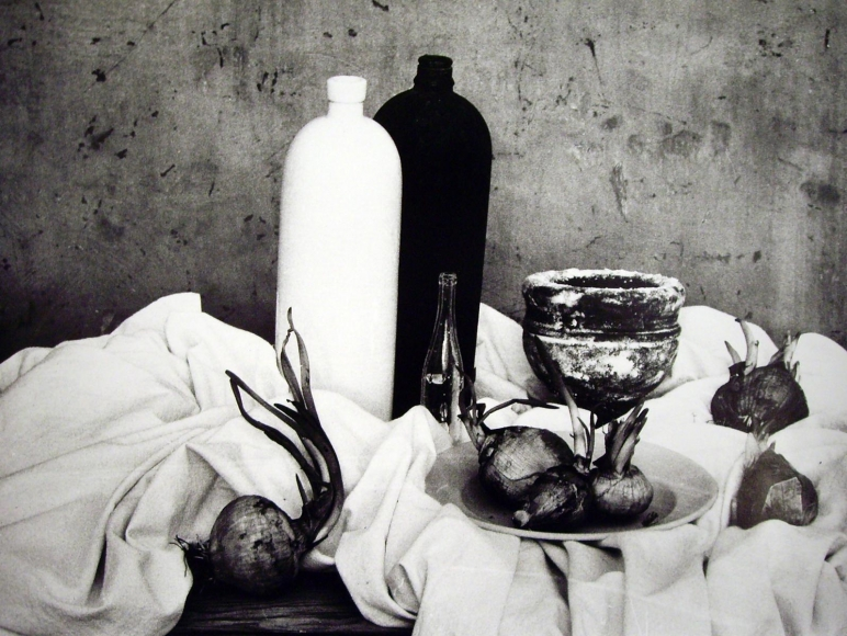 Natura morta con cipolle, 1956, 	(Still life with a cup) 	Gelatin silver print, printed later 	11 3/4 x 15 inches
