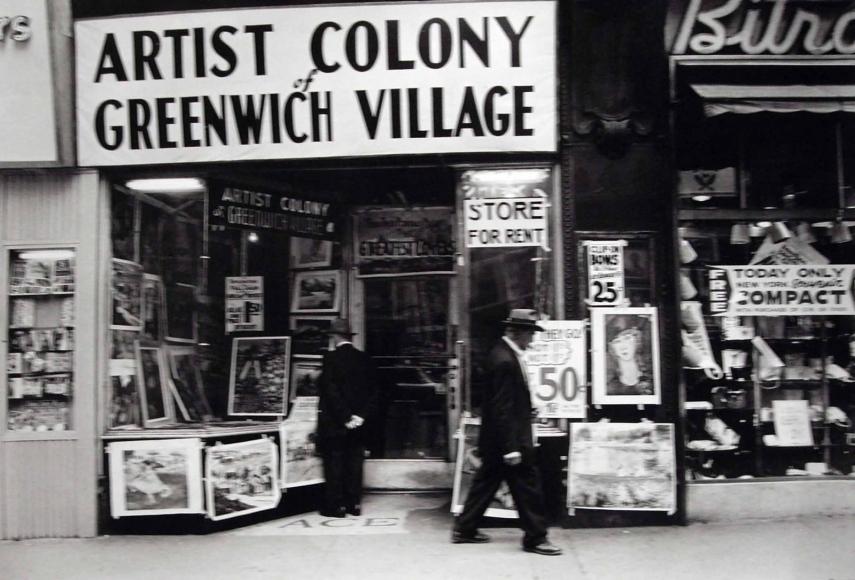 Frank Paulin - Untitled (Artist Colony of Greenwich Village, 14th Street), 1955 Gelatin silver print   Bruce Silverstein Gallery