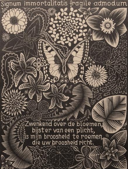 M.C. Escher, Butterfly, from Emblemata, 1932