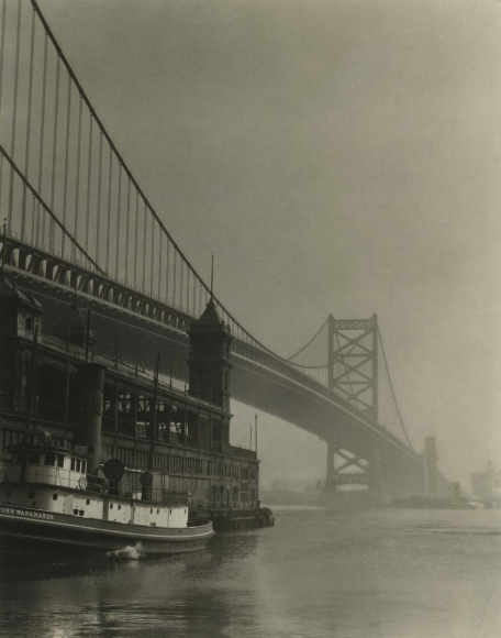 E. O. Hoppé - Bridge and Ferry, Philadelphia, 1926  | Bruce Silverstein Gallery