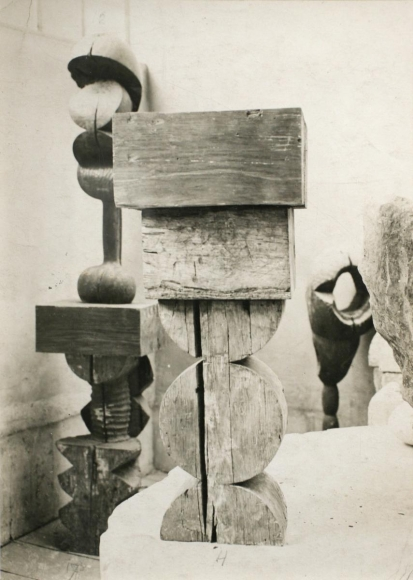 Constantin Brâncuşi - View of the Studio: Socrates & Adam and Eve, c. 1922 | Bruce Silverstein Gallery
