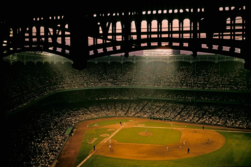 Night baseball game, Yankee Stadium, Bronx, New York, 1983, 	Archival inkjet print 	13 x 19 inches