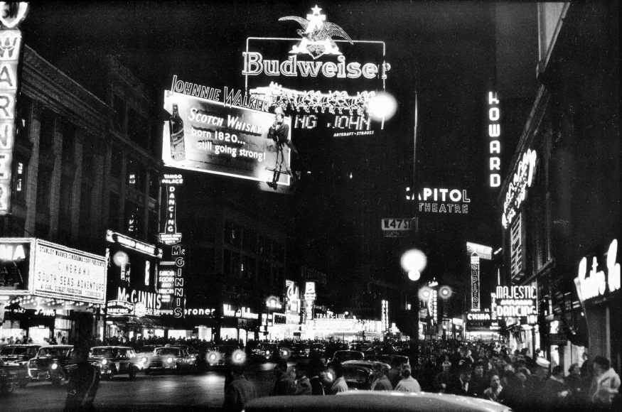 Frank Paulin - Budweiser Sign, Times Square, New York City, 1956 Gelatin silver print mounted to board | Bruce Silverstein Gallery