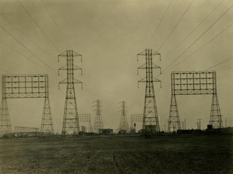 E. O. Hoppé - Edison Wireless, Electrical Pylons, Los Angeles, CA, 1926    Bruce Silverstein Gallery