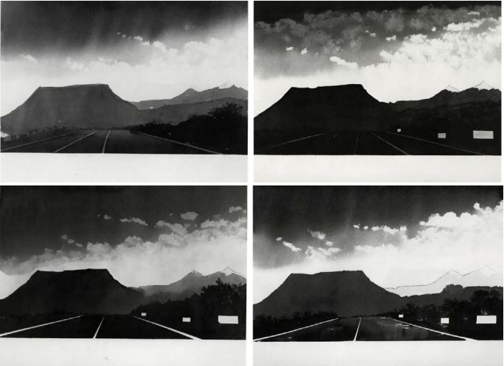 Near Gallup, New Mexico (from 100 Views Along the Road), 1981, Set of 4 watercolors on paper