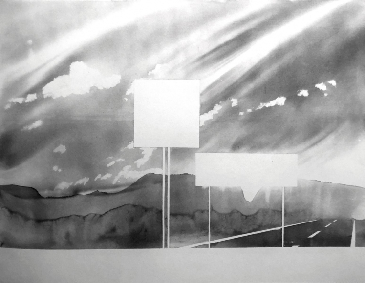 Towards Mt. Sugarloaf, Deerfield, Massachusetts (from 100 Views Along the Road), 1983, Large-format watercolor on paper