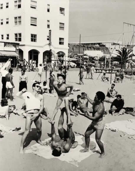 Boy Performing, Muscle Beach, Santa Monica, CA, 1954, 	Gelatin silver print, printed later