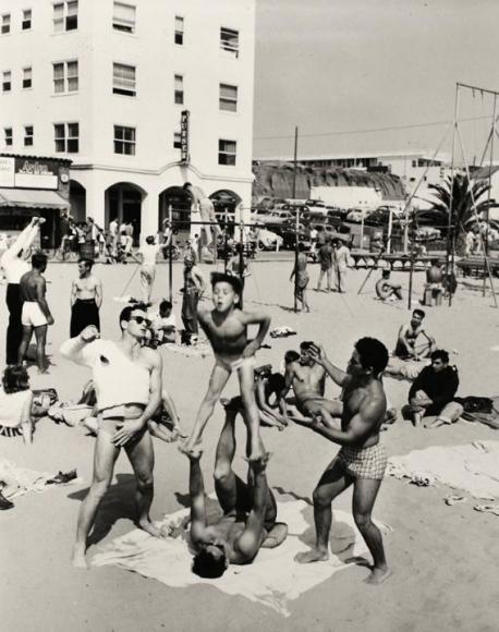 Larry Silver - Boy Performing, Muscle Beach, Santa Monica, CA, 1954 Gelatin silver print, printed later | Bruce Silverstein Gallery