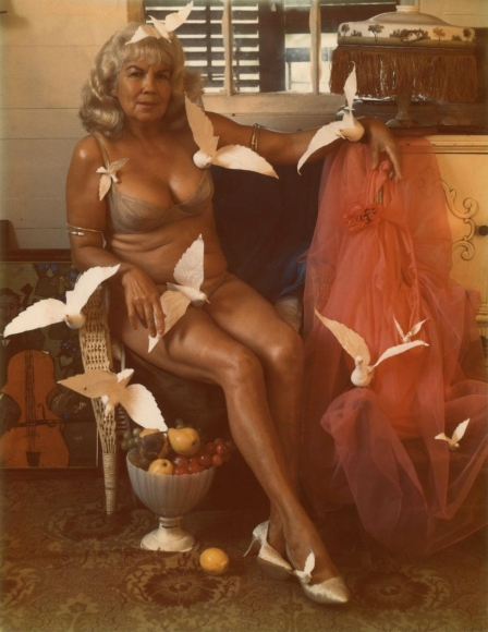 Princess with Doves, Key West, 1966 Polaroid. 5 1/4 x 4 1/4 inches