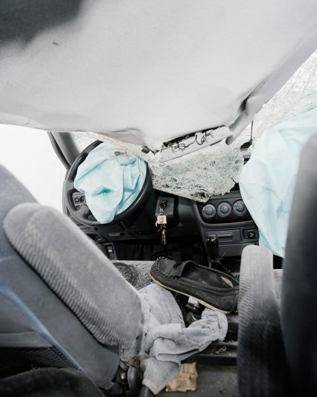 Car Crash Studies, Interiors #7, 2009 Chromogenic print. 19 5/8 x 15 3/4 inches