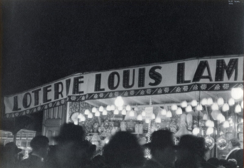 Ilse BingParis Street Fair, 1933 Gelatin silver print mounted to board, printed c. 1933. 7 3/4 x 11 inches