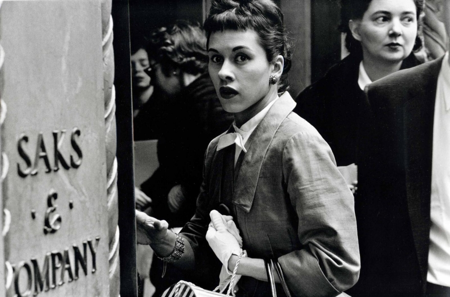 Surprised Woman at Saks, New York City, 1956, 	Gelatin silver print mounted to board