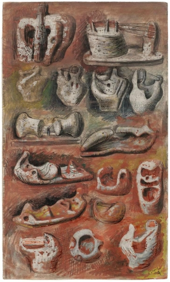 Henry Moore (1898-1986)Ideas for Sculpture, 1940 Crayon, pastel, pencil, chalk, watercolor, pen and India ink on woven paper 17 x 10 in. (43.2 x 25.4 cm)