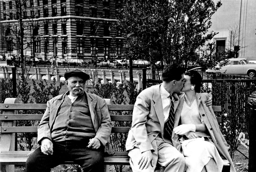 Frank Paulin - Battery Park Bench, New York City, 1955 Gelatin silver exhibition print mounted to board, printed c. 1955 | Bruce Silverstein Gallery