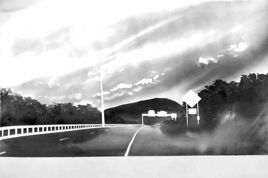 Route 116, Near Sunderland, Massachusetts (from 100 Views Along the Road), 1983, Large-format watercolor on paper