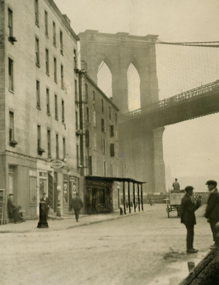 Span of the Brooklyn Bridge, New York City, 1921 	Gelatin silver print, printed c. 1921 	4 1/2 x 3 1/2 inches