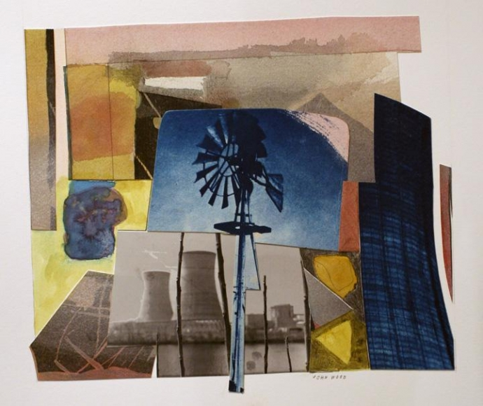 John Wood - Windmill and Cooling Towers, 2000 Cyanotype and watercolor collage | Bruce Silverstein Gallery