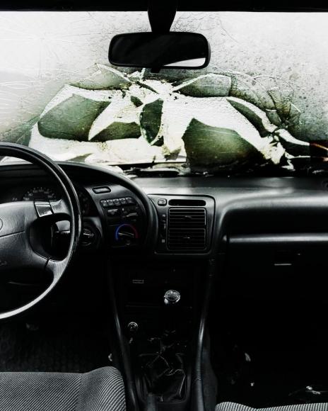 Car Crash Studies, Interiors #6, 2009 Chromogenic print. 19 5/8 x 15 3/4 inches