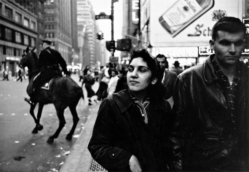 Frank Paulin - Couple, Times Square, New York City, 1956 Gelatin silver exhibition print mounted to board, printed c. 1956 | Bruce Silverstein Gallery