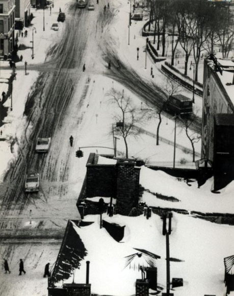 André Kertész - Snow Covered Streets and Roof Tops, January 30, 1961 Gelatin silver print, printed c. 1961 ; Bruce Silverstein Gallery
