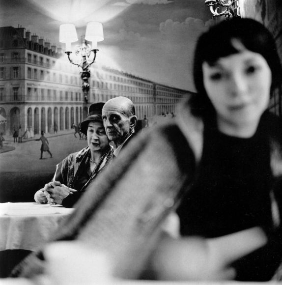 Frank Paulin - Old Couple and Young Woman at Cafe, Paris, France, 1961 Gelatin silver print, printed later | Bruce Silverstein Gallery