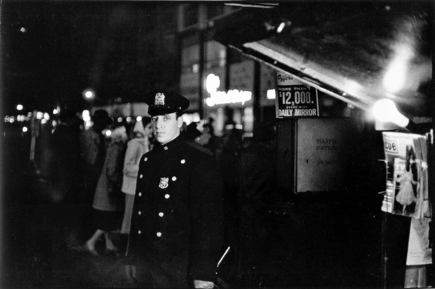 Frank Paulin - The Law, Times Square, New York City, 1956 Gelatin silver print mounted to board, printed later | Bruce Silverstein Gallery