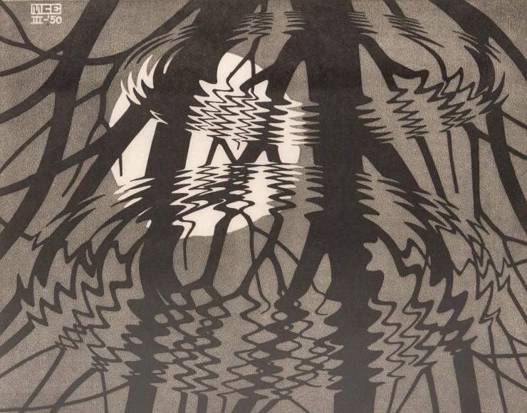 M.C. Escher, Rippled Surface, March1950