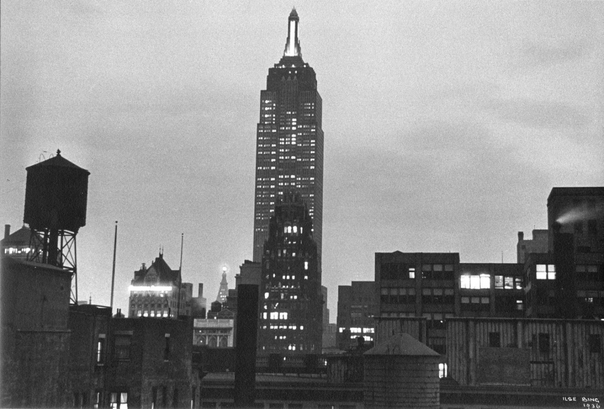 Ilse BingEmpire State Building at Night, New York, 1936 Gelatin silver print mounted to board, printed c. 1936. 7 1/2 x 11 1/8 inches