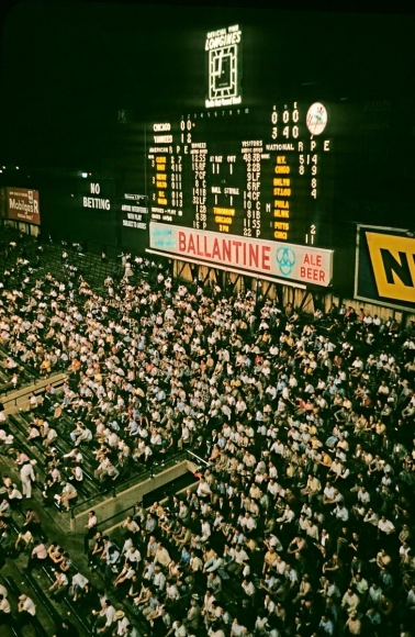 Night baseball game, Yankee Stadium, Bronx, New York, 1983, 	Archival inkjet print 	22 x 17 inches