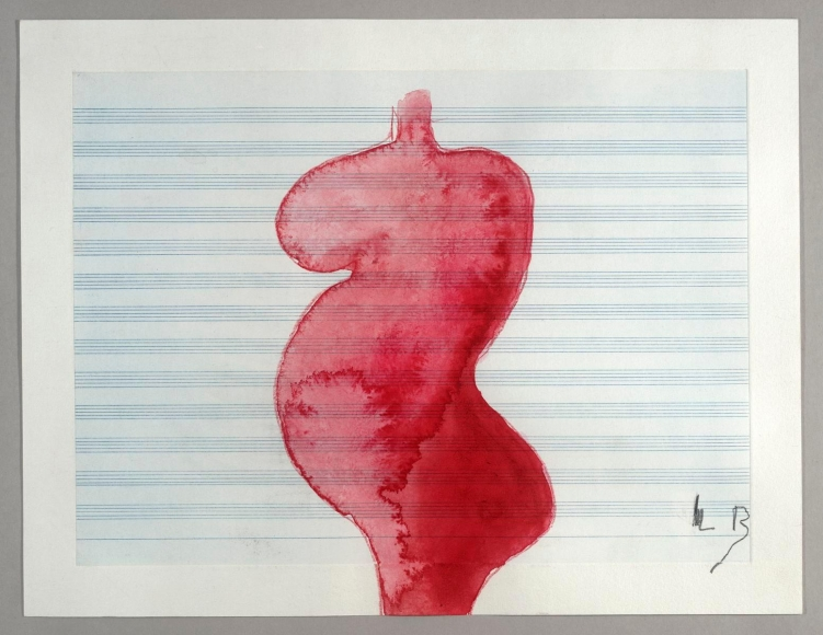 Louise Bourgeois (1911-2010)Pregnant Woman, 2008 Gouache and colored pencil on etched music paper 11 1/2 x 15 inches (29.2 x 38.1 cm)