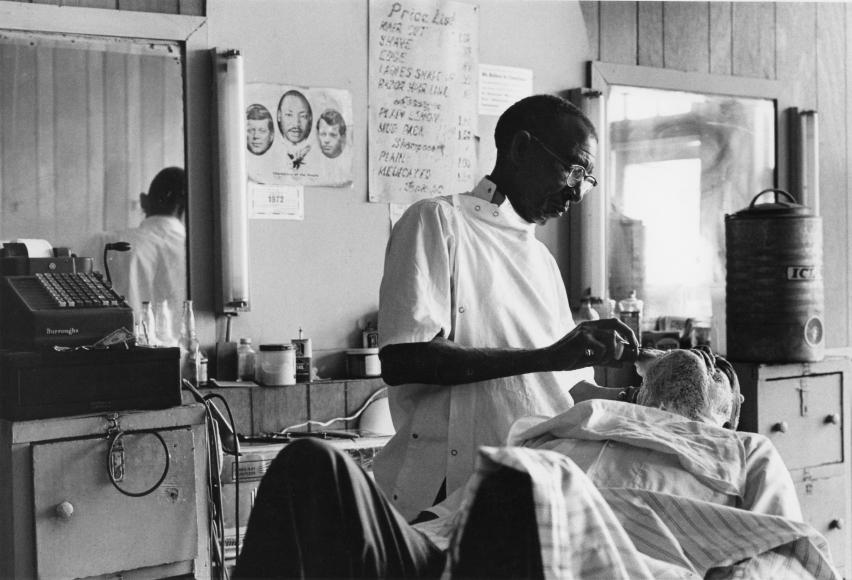Chester Higgins -  Barbershop, Tuskegee, Alabama, 1972