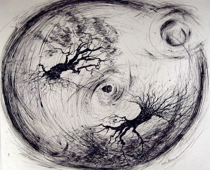 Barbara Morgan - Acorn Round, 1961 Ink on paper | Bruce Silverstein Gallery