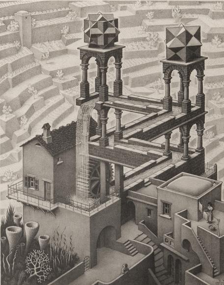M.C. Escher, Waterfall, October 1932