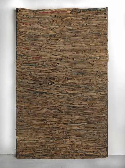 Jannis Kounellis,Untitled, 1985,burlap sacks, iron beams,dimensions variable