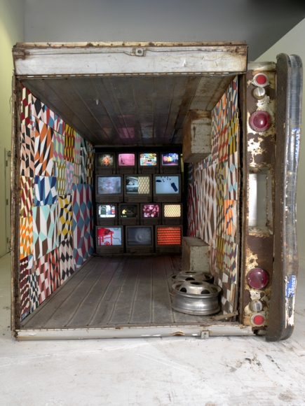 Barry McGee, Untitled (Truck Installation with TVs), 2004