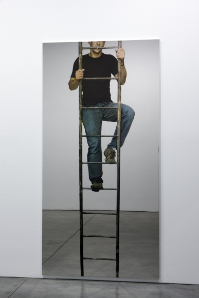 Michelangelo Pistoletto,Uomo che sale la scala a pioli (Man climbing the ladder),2008, silkscreen print on mirror-polished stainless steel,98 3/8 x 49 1/4 inches